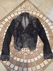 FAUX LEATHER AND TIE DIE SPIKE EMBELLISHED MOTO JACKET
