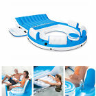 6 Person Large Inflatable Floating Island W Cooler Lounge Lake Party Pool Raft