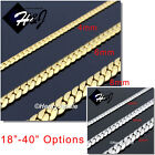 18 40MEN Stainless Steel 4 6 8mm Silver Gold Miami Cuban Curb Chain Necklace