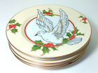 Fitz & Floyd Christmas Holly Dove Dessert Plates 7.5