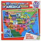 60 PIECE PUZZLE 50 UNITED STATES OF AMERICA USA STATE CAPITALS INCLUDED RED