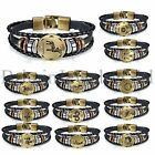 Handmade 12 Constellation Zodiac Sign Charms Black Leather Adj Cuff Bracelet