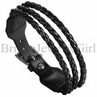 Adjustable Braided Woven Rope Leather Wrap Cuff Stainless Steel Buckle Bracelet
