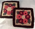 Hooked Table Mats Pads Floral Chain Brown Border Salmon Maroon Beige Handmade