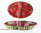 Tracy Porter, Octavia Hill Garden, 3-Part Relish Dish, NEAR MINT! Red