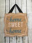 Home Sweet Home Wooden Decor Sign Blue White Hanging