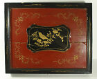 Vtg Asian Wood Black Box Red Bird Rustic Wall Art Object Large 17