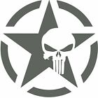 Army Star Punisher Skull Jeep Car Military Decal Sticker 75x75 CHARCOAL