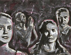 Expressionist Painting on Paper Movie Scene from The Seventh Seal Ingmar Bergman
