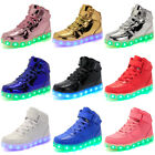 Children Boys Girls 7 LED Light Up Casual Shoes USB Luminous Sneaker Kids Gift