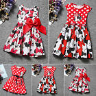 Summer Toddler Girls Dress Baby Kids Mickey Minnie Mouse Party Tops Vest Dresses