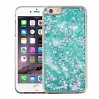 For Apple iPhone 6 Plus 6s Plus Green Hearts Quicksand Hard TPU Glitter Case