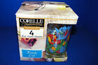 Corelle Corning Set of 4 Glass Cooler Tumblers Fresh Cut Tulips 16 Oz Beverage