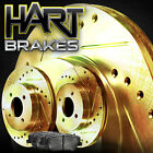 FRONT KITGOLD HART DRILLED SLOTTED BRAKE ROTORS AND SEMI MET PAD GHCF4403403