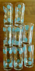 8 VNT  Mid Century Glasses Tumblers  RETRO Modern  Turquoise Gold Barware  5.5