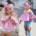 Toddler Kids Baby Girl Summer Off Shoulder Ruffle Collar T Shirt Top Outfits Set