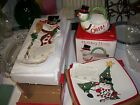 NIB Fitz and Floyd Cheers Snowman platter, tray, and basket all NIB set of 3