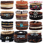 Newest Unisex Men Women Handmade Leather Bracelet Braided Bangle Wristband Set