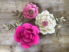 Large Paper Flowers Set Of 3 Decor Party Backdrop Wedding Baby Birthday