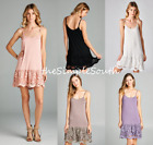 New ODDI Long Scalloped Lace Jersey Knit Cami Tank Top Dress Extender Slip Liner