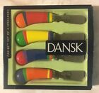 Set Of 4 Dansk Multi Color Canapes Spreaders Knives Caribe