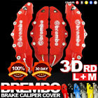 4x Red 3D Brake Caliper Covers Style Disc Universal Car Front Rear Kits 10.5