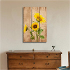 Home Wall Art Decor Sunflowers Over Wood Panel Canvas Prints Stretched Frame New