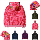 Popular Ape BAPE Mens Shark Jaw Camo Full Zipper Hoodie Sweats Coat Jacket