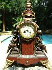 Antique French Marble Mantle Clock w Gold Gilding