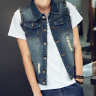 Mens Vintage Vests Studded Lapel Denim Jeans Cowboy Motorcycle Loose Holey Coats