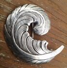 Vintage Silver Feather Pin Signed J Curtis Native American Design