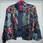 JS COLLECTIONS Asian Inspired Jacket Blazer Coat Silk Blend 16 womens Vintage