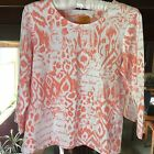 Ruby Red Womens Top Size Medium Petite Coral White 3 4 Sleeve