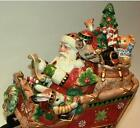 Fitz & and Floyd CHRISTMAS LODGE Santa Sleigh COOKIE JAR Centerpiece Animals NIB