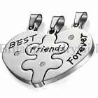 BEST FRIEND FOREVER Heart Shape 3 Pendants Charms Necklaces BFF Friendship
