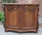 Antique French Oak Rococo Revival Bow Front Server Sideboard Cabinet Buffet Bar