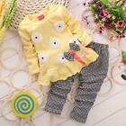 Toddler Kids Baby Girl Spring Outfits T Shirt Tops Dress Plaid Pants Clothes Set