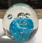 Vintage Blue Swirl Clear Bubble Design Paperweight Round Signed S Art Glass