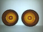 2 Candle Holders Gold Amber Indiana Glass Diamond Point Pattern Vintage Pretty