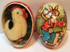Vintage 31 4 Bunny Paper Mache Easter Egg Candy Container  Rooster W German