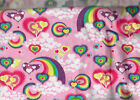 FABRIC REMNANT FLANNEL Cotton PINK RAINBOW HEARTS RED PINK 21X18 1 2 YARD NEW