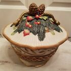 Fitz and floyd Jolly Ole St. Nick lidded pine cone and tassel vegetable bowl