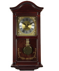 22 Inch Grandfather Wall Clock With Pendulum 4 Chimes Mahogany Cherry Wood New