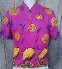 Vintage GIORDANA Cycling Jersey NEON PINK Lemons Retro size SMALL 1980s