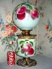 UNUSUAL c 1905 Pittsburgh GWTW Parlor Banquet Lamp PEACHES Stencil Decorated