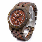 Bewell Sub-dial Wooden Watch Quartz Analog Red Outdoor Date Wristwatch for Men