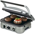 5 In 1 Silver Countertop Griddler With Reversible Plates Drip Tray Scraper Tool