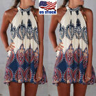 Womens BOHO Loose Sleeveless Floral Party Summer Beach Sundress Short Dress USA
