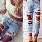 Ripped Distressed Jeans Women Pants Denim Destroyed Hole Vintage Mid Rise
