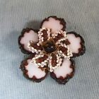 Vtg Unique Signed Miriam Haskell Flower Pin Bead Center w/Stone Petals 2
